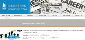 how to check ibps clerk cwe iv crp scorecards