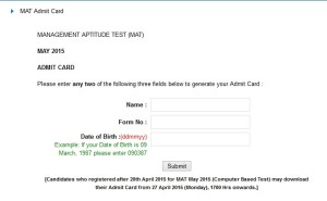 how to download MAT exam 2015 hall ticket admit cards mba pgdm admission