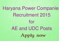 Haryana Power Companies Recruitment 2015 for AE and UDC Posts