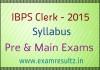 IBPS Clerk 2015 syllabus for Pre and Main exams
