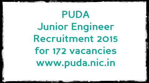 PUDA Junior Engineer Recruitment for 172 vacancies www.puda.nic.in