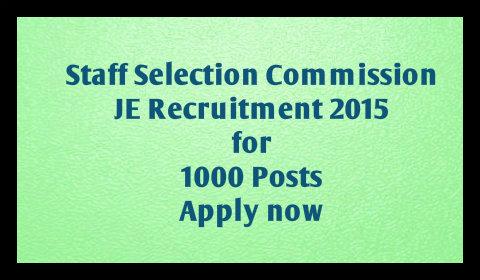 SSC Junior engineer recruitment 2015 application form
