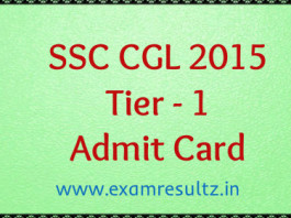 ssc cgl 2015 tier 1 admit card download