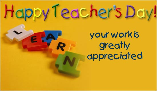 Teachers day greeting card with sms messages 2015