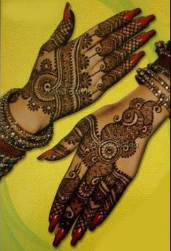 Karva chauth Indian mehandi design on front n back hand for womens, new dulhan