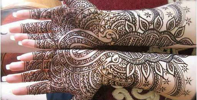 Beautiful Mehandi Design karvachauth on front hands for girls