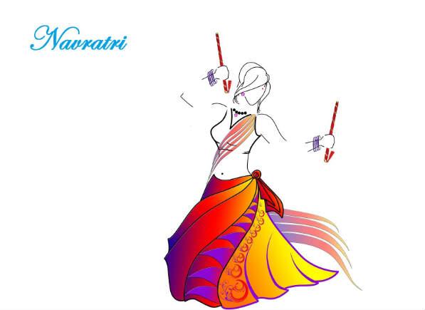 happy navratri night girl playing dandiya drawing hd wallpaper