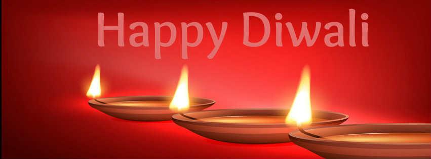 Happy Diwali fb cover of Diya images wallpaper