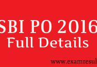 SBI Po 2016 full details