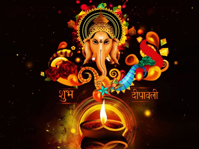 lord-ganesha-and-diwali-diya-wallapper-for-free-download